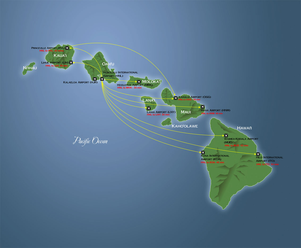 Hawaiian Islands Airports Map Pictures To Pin On Pinterest